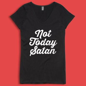 Not Today Satan Gym Sport Runner Yoga Funny Thanksgiving Christmas Funny Quotes Women'S V Neck