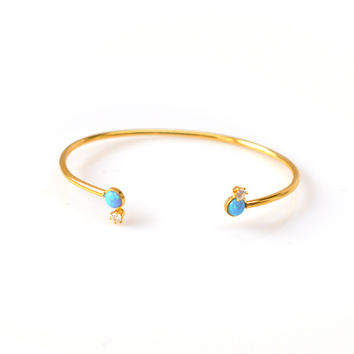 Blue Opal and Diamond Drop Cuff