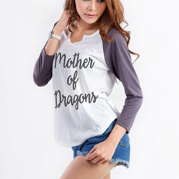 Game of Thrones Shirt Mother of Dragon T Shirts Funny Printed Shirt Fashion Inspired Womens Baseball Shirt Hipster Tumblr Sweatshirt