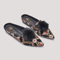 POPPY BLACK EMBROIDERED FLATS