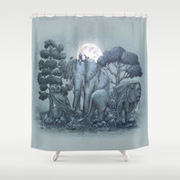 Midnight in the Stone Garden (colour option) Shower Curtain by Eric Fan