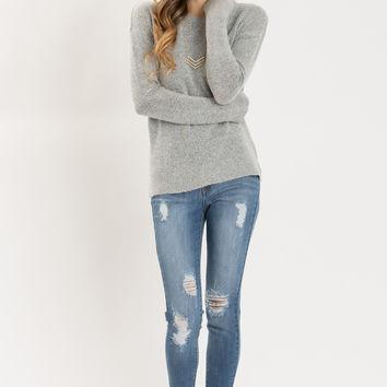 Nellie Grey Knit Pullover Sweater