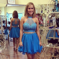 Blue Two Piece Homecoming Dress