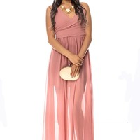 LIGHT PINK LOW FRONT SLEEVELESS SHEER LONG PARTY DRESS