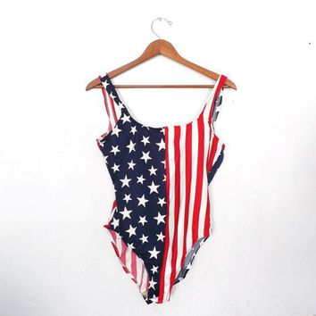 Size Large Vintage Retro 80s 90s Red White Blue Stars Bathing Suit Patriotic American Flag One Piece Swimsuit Hipster Aerobics Punk Grunge