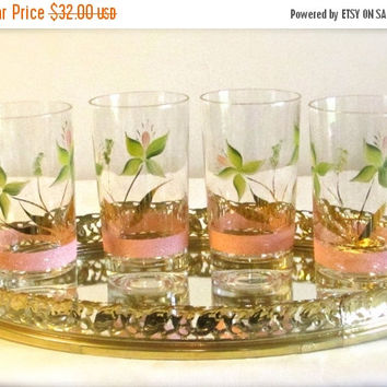 Christmasinjuly Atomic Drinking Glasses, Hand Painted Mid Century Drinking Glasses, Set of 4 Novelty Tumblers, Ice Tea Glass Tumblers, laslo