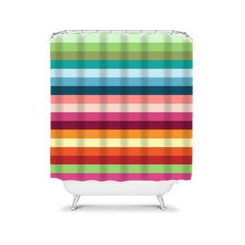 Striped SHOWER CURTAIN, Colorful Rainbow, Shared Boy Girl Bath, Custom MONOGRAM, Personalized Bathroom Decor, Bath Towel,  Bath Mat