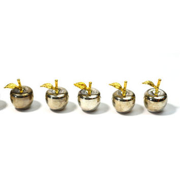 Silver Place Card Holders Apple Place Card Holders Silver Apple Place Card Holders Set of 6 Wedding Place Card Holders