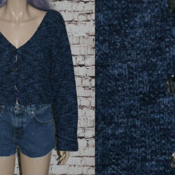 90s Cropped Cardigan Sweater Jumper S Blue Button Up knit Bell Sleeves Crop Navy Grunge Hipster Pastel Goth Festival Boho Boxy Slouchy