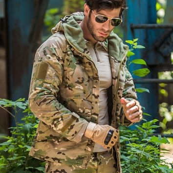 Trendy S.ARCHON Waterproof Tactical Fleece Jackets Men Hooded Military Camouflage Field Jacket Coat Winter Warm Windbreaker Army Jacket AT_94_13