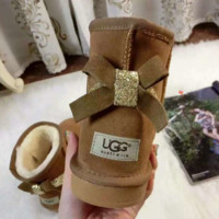 UGG:: bow leather boots boots in tube bow knot shining boots Khaki