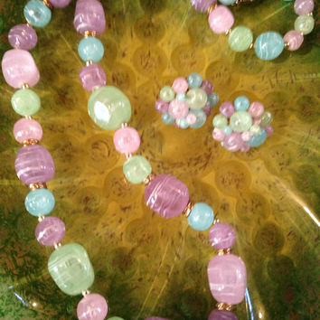 Vintage Pastel Vintage Cluster Beaded post earrings & beaded necklace set