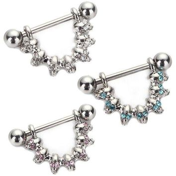 ac PEAPO2Q 1Pc Shield Barbell Ring Skull Piercing Bar Jewel Gem Design Surgical Steel for Women Body Jewelry