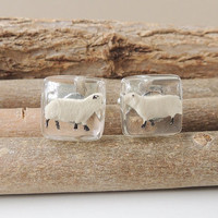 Sheep Cufflinks, Little Sheep Diorama Figures in Resin Cabochons, Sheep Jewelry, Resin Jewelry, Father's Day, Farm Animal Gift, UK (296)