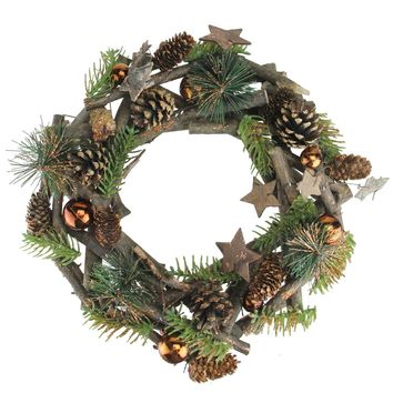 "12"" Wooden Stars and Bronze Ornaments Foliage Twig Christmas Wreath - Unlit"