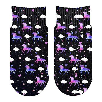 Galaxy Unicorn Pattern All Over Toddler Ankle Socks