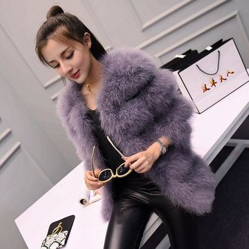 2016 autumn and winter long section of thick round neck Slim thin ostrich hair real Ostrich feather coat Women's winter jacket