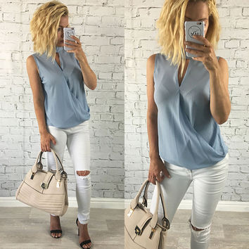 Women's Baby Blue Criss Cross Front Summer Chiffon Blouse with V-Neck and Choker