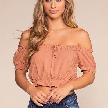 Del Mar Off The Shoulder Crop Top - Apricot