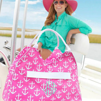 Custom Embroidered Monogram Large Hot Pink ANCHOR Nautical Beach Bag Weekender Tote - Professional equipment used - Summer Tote