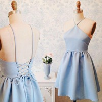 Baby Blue Halter Strapless Homecoming Dress