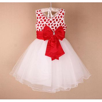 The big bow flower gril dresses for weddings 2015 sleeveless multicolor girl princess dress green, pink red tutu dress for girls