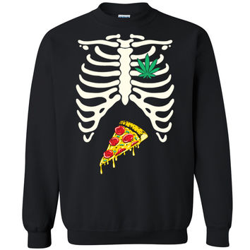 Zexpa Apparel™ Rib Cage Weed Pizza Munchies Unisex Crewneck Halloween Costume Sweatshirt