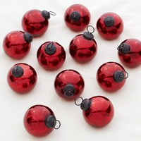 MERCURY GLASS ORNAMENT - RED, SET OF 12