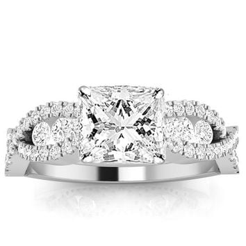 CERTIFIED | 1.32 Carat Princess Cut Designer Twisting Eternity Channel Set Four Prong Diamond Engagement Ring (I-J Color, I2 Clarity Center Stones) (White Gold)
