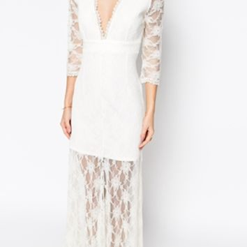 John Zack Petite Plunge Neck Wrap Front Lace Maxi Dress
