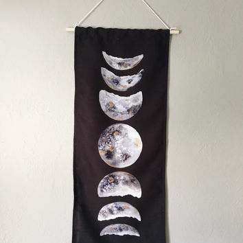 Watercolor moon phase tapestry | wall hanging | moon phase banner