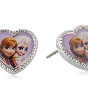 Disney Frozen Girls' Silver-Tone Anna and Elsa Heart Stud Earrings