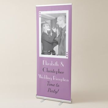 Wedding Backdrop / Photo Booth purple and white Retractable Banner