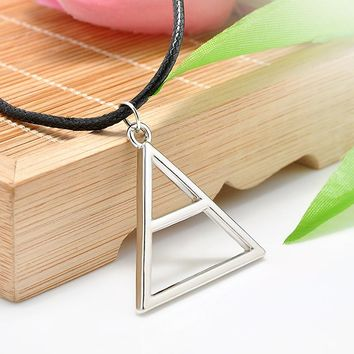 Triangle Geometric Shape Silver Leather Rope Band Necklace