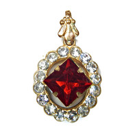 Ruby Red Rhinestone Pendant  with Clear Accent Princess Cut