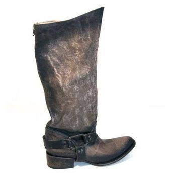 CREYONIG Freebird Philly - Grey Distressed Leather Tall Harness Western Boot