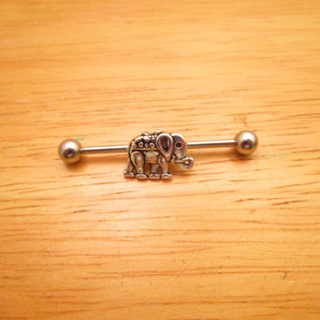 Elephant Industrial Barbell, Silver Industrial Barbell, Cartilage Earring, Cartilage Barbell, 14 gauge Piercing.
