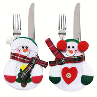 2016 Christmas Snowman Cutlery Suit Table Silverware Holders 8Pcs/lot Non Woven Pocket Knife Christmas Decorations for Home