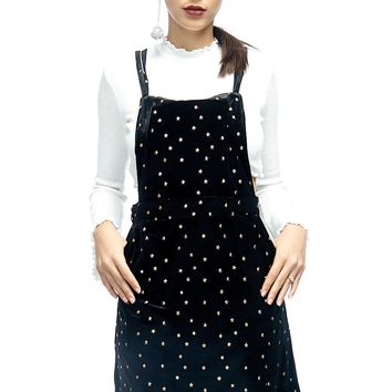 Star Studded Overall Velour Dress