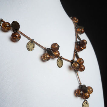 Stone Bead Necklace Autumn by Lunarpearl on Etsy