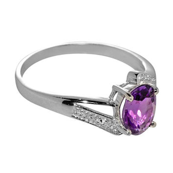 Sterling Silver 1ct Amethyst & Diamond Ring 8mm x 6mm oval gemstone