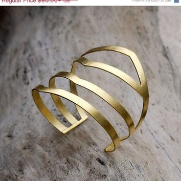 ON SALE Geometric gold plated cuff bracelet -  24K gold plated brass - Statement jewelry