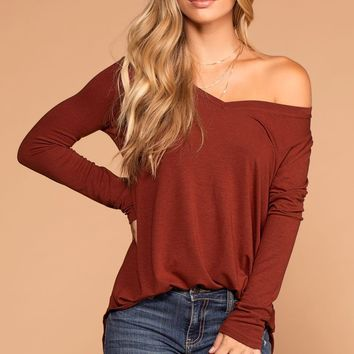 Missy Rust Long Sleeve V-Neck Top