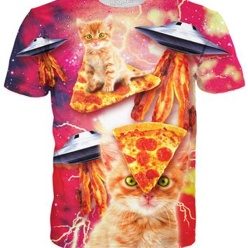 Bacon Pizza Space Cat T-Shirt