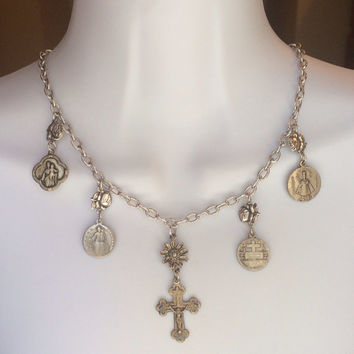 Vintage Sterling Silver Rose and Saint Medals Mexklace