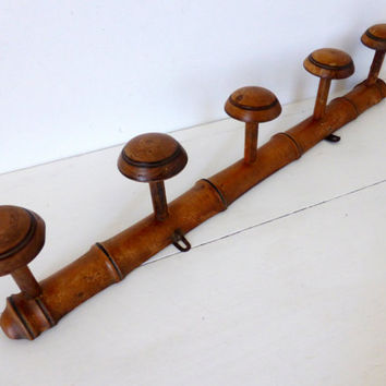 French Vintage Wooden Coat, Hat, Peg Rack, Faux Bamboo 5 Pegs