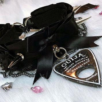 MADE TO ORDER: Black Luxury Ouja Spiked Lace Bows Pastel Goth Collar