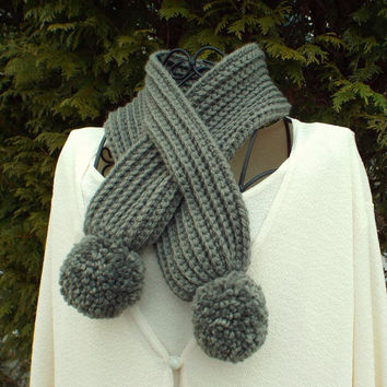 Stone Gray Neck Warmer - Womens Crochet Scarf with Pom Poms - Keyhole Scarf - Winter Scarflette