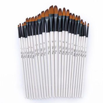 12pcs/set Artist Paint Brushes Set Acrylic Oil Watercolour Painting Craft Art Model Paint By Number Pen Brushes