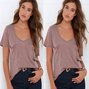 Summer Women's Fashion Short Sleeve V-neck With Pocket Tops T-shirts [6343457793]